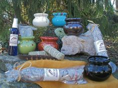ritual--Cherokee smudging pots for smudging blessings (Crystal Sage Products)