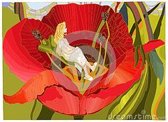 Thumbelina in home illustrations -Andersens fairy tales.