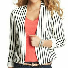 "SAILOR STRIPE COLLARLESS LINEN JACKET Firm Price Final price! NWOT Capture nautical inspired charm in a fresh, sailor striped style ? in luxuriously lightweight linen. Open front. Besom pockets. Lined. 21 1/4"" long. LOFT Jackets & Coats"