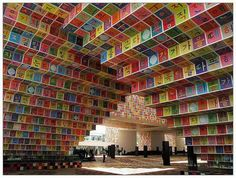 The South Korean pavilion at  Shanghai Expo is an amalgamation of Hangeul letters (Korean alphabet)  and space. The exterior wall is covered with 38,000 tiles painted with  dancheong (traditional multicolored paintwork on wooden buildings)  created by installation artist Ik-Joong Kang.