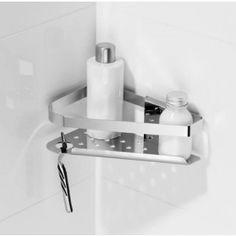 Eck - Duschregal aus verchromten Messing. Der Duschkorb ist abnehmbar, daher leicht zu reinigen.