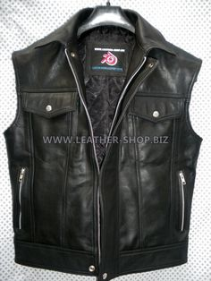Black leather vest jean jacket style with side zippers and hidden front zipper Leather-Shop,Biz Puffer Vest Outfit, Vest Outfits, Black Leather Biker Jacket, Leather Men, Jean Jacket Styles, Vest For Sale, Tactical Wear, Revival Clothing, Mens Clothing Styles