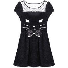 """Black Kitty"" Dress ($54) ❤ liked on Polyvore featuring dresses, vestidos, cat, romwe, cat print dress, mesh cat dress, short-sleeve dresses, short sleeve dress and mesh dress"