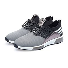 Breathable Elevator Sneakers Add Altitude 2.8inch / 7cm Gray Taller Tennis  Shoes