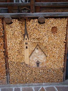 Belluno Dolomiti Veneto Italia Firewood Shed, Firewood Storage, Stacking Firewood, Outdoor Art, Outdoor Gardens, Wood Store, Reclaimed Wood Art, Wood Cutting, Wood Sculpture