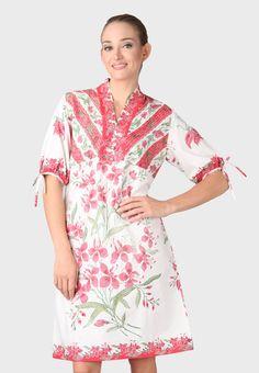 FAY'S BATIK ART Dress Batik Obnesel Putih Pink | Pengiriman Gratis | ZALORA.co.id