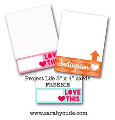 Printables -- Instagram Cards - Project Life printable journaling cards