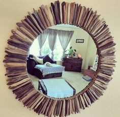 Round rustic driftwood mirror 32 MADE TO ORDER