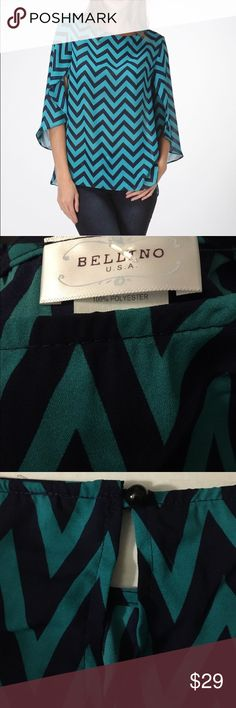 Tulip sleeve loose fitting top Green and navy chevron loose style top.  Polyester.  Single button closure in back.  Lightweight and flows! Bellino Clothing Tops Tunics