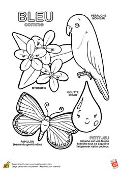 To Learn French Kids Product Colouring Pages, Coloring Pages For Kids, Coloring Books, Color Games, French Lessons, Learn French, Embroidery Patterns, Art For Kids, Preschool