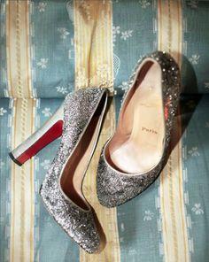 silvery. glittery. louboutins / Gahh I wish I had somewhere to wear these