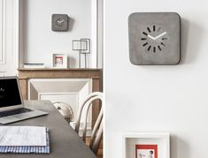 Concrete clock Crafted from beautiful concrete, the LIFE IN PROGRESS clock is built to stand the test of time! The minimalist aesthetic is void of any