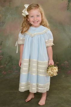 NEW Easter Dress Light Blue Heirloom by Strasburg Children with white sash