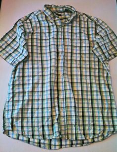 Men's Club Room Plaid 100% Cotton Button Down Short Sleeve Shirt Size Large in Clothing, Shoes & Accessories, Men's Clothing, Casual Shirts | eBay