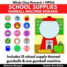 Gumball Machine Reward SCHOOL SUPPLIES THEMED   Bubble Gum   Class, VIPKid Whole Class Rewards, Student Incentives, Reward Ideas, Behavior Rewards, Gumball Machine, Bubble Gum, School Supplies, Bubbles, Ads