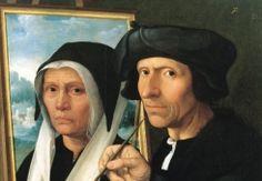 Van Oostsanen - de eerste Hollandse meester schildert zijn vrouw Anna' door Dirck Jacobs uit 1530. Een portret van Van Oostsanen werkend aan een portret van zijn echtgenote Anna. Het werd geschilderd door hun zoon Dirk Jacobs. Twee mensen van circa zestig jaar: kraaienpootjes, roze blosjes en ogen die ons indringend aankijken. Ook de rimpelige schildershand met penseel oogt levensecht.