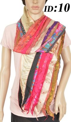Vintage Silk Sari Recycled Scarf Stole Patchwork Sash Hijab ID-10 #Handmade #Scarf