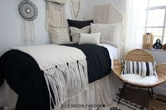Dorm season is finally here. We are so excited to launch these gorg dorm bedding designs we have been working on for months. This season we're seeing tons of pattern (think palm), texture, macrame, and unexpected fabrics. Of course, neutrals are always a good idea. Dorm Room Headboards, Dorm Bedding Sets, College Dorm Bathroom, Dorm Bed Skirts, Dorm Room Designs, Dorm Room Organization, Cute Dorm Rooms, Dorm Ideas, Bed Design