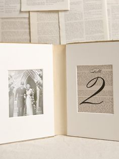 Use the cloth binding of a book as a picture frame, & table number for a wedding, use pictures of your favourite couples through history. (tutorial included)