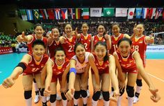 China celebrate winning Pool D in Macau, where 18-year-old debutant Zhu Ting (back row, middle) was the standout performer. All photos: FIVB.