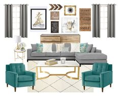 """Grey, Turquoise & Gold Living Room"" by theofficialreginamarie on Polyvore featuring interior, interiors, interior design, home, home decor, interior decorating, Bernhardt, Levtex, Elise & James Home and Diptyque"