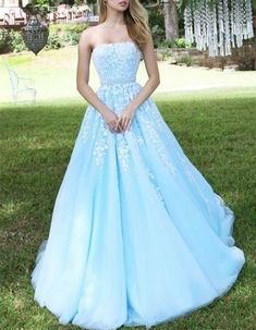 Gorgeous Light Sky Blue Prom Dress,Strapless Evening Dress, Beading Appliques Prom Dress,Floor Length Ball Gown,Long Homecoming Gown