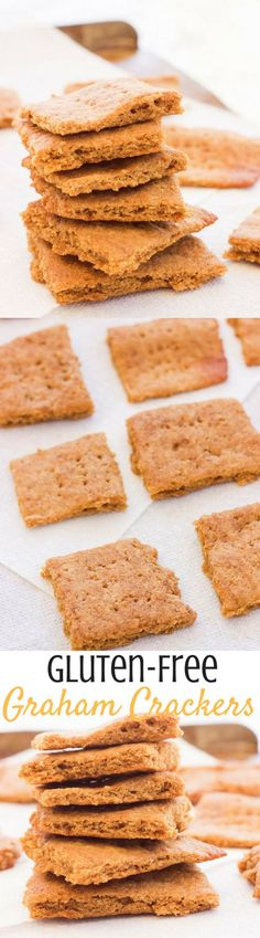 These paleo gluten-free graham crackers are an easy 15 minute recipe that uses simple ingredients to make moist-on-the-inside and toasted-on-the-outside squares just in time for s'more season! Gluten Free Recipes For Breakfast, Gluten Free Sweets, Gluten Free Breakfasts, Gluten Free Cooking, Low Carb Recipes, Baking Recipes, Cookie Recipes, Paleo Recipes, Bon Dessert