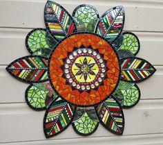 Wallflower mandala mosaic by Glenys Fentiman