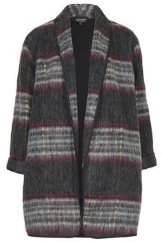Topshop 14FW Fluffy Wool Check Duster Jacket