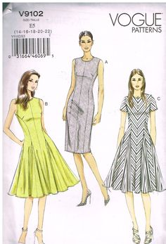 Vogue V9102, Sewing Pattern, Misses'  Dress,  Size 14,16,18,20,22 by OhSewWorthIt on Etsy