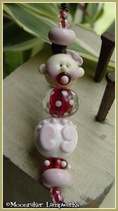 New Baby Girl Lampwork Bead Set by moonrakerbeads on Etsy, $23.00