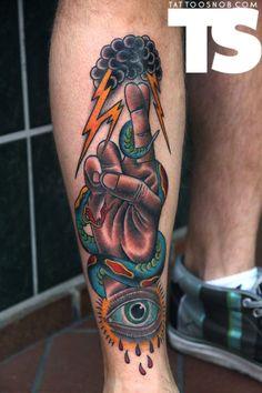 Shin tattoo by Erick Lynch