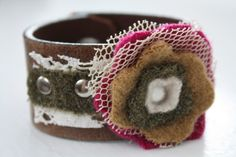 Repurposed Leather Belt Bracelet Cuff with by HouseofStrause, $28.00