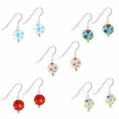 Murano Glass Millefiori Flower Sterling Silver .925 Disc Earrings Set SilverSpeck.com. $19.99. Save 73% Off!