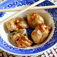 Shrimp & cheese filled wontons baked to a crisp and served with sweet soy sauce.