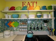 Fiesta ware - cute multi colored display