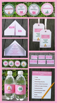 Pink Camp Birthday Invitation  Printable Party Collection, EDITABLE text PDF file - you personalize at home with Adobe Reader. $14.95, via Etsy.