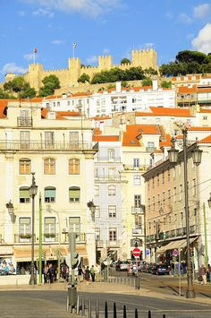 View of St. Night Train, Wide World, Lisbon Portugal, Most Beautiful Cities, Travel Pictures, Athens, Places Ive Been, Castle, Street View