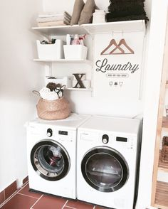 Laundry room with IKEA Algot and RoomMates Wall Decals