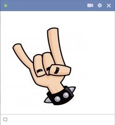 Rock On Fingers Emoticon For Facebook
