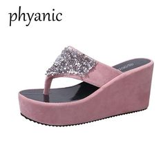 0595e213b Phyanic Bling Women Flip Flops Wedge High Heels Platform Woman Slipper Beach  Sandals Summer 2018 New