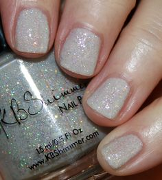 KBShimmer Winter/Holiday 2016 Collection | Vampy Varnish / Yeti Or Not is a pale grey polish jam-packed with iridescent and holographic glitter