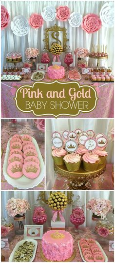 How gorgeous is this pink and gold royal baby shower?! See more party ideas at CatchMyParty.com!