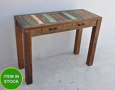 Recycled Reclaimed boat old rustic Timber console long desk sideboard hall table
