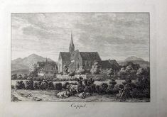 1790 c. Franz HEGI - KAPPEL AM ALBIS - copper engraving with cows to foreground