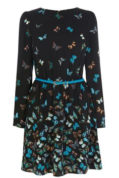 Butterfly Border Long Sleeve Dress | Multi | Oasis Stores