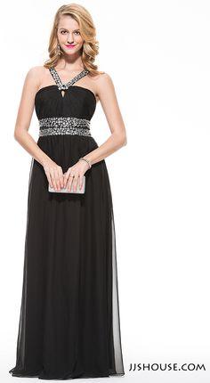 A-Line/Princess V-neck Floor-Length Chiffon Prom Dress With Ruffle Beading…