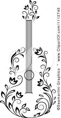 Google Image Result for http://images.clipartof.com/small/1112745-Clipart-Black-And-White-Floral-Guitar-3-Royalty-Free-Vector-Illustration.jpg