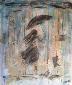 Anna Olmo - k. pagine, acquarello e spray su tela, 100x120