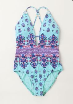 Seaside Masterpiece One-Piece Swimsuit. The ocean waves are calm and peaceful as you - sporting this turquoise swimsuit by Nanette Lepore - stand with your toes in the water. #blue #modcloth